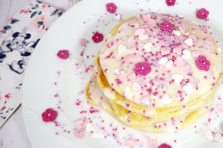 valentines american style pancakes with icing and sprinkles